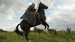 Medieval knight on horseback. Stock Footage