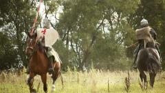 Medieval knights on horseback. Stock Footage