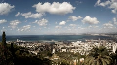 Haifa city harbor and bay panorama time lapse Stock Footage