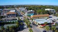 Downtown area of Folly Beach, South Carolina Stock Footage