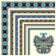 floral vintage frame design. Vector set. - stock illustration