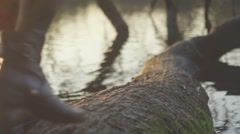 Close up of a young woman walking on a tree that has fallen into a pond - stock footage