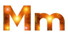Set of letters, firework, M - stock illustration
