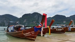 Longboats on Phi Phi Island Thailand - Holiday Travel Destination. Stock Footage