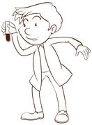 A plain sketch of a scientist - stock illustration