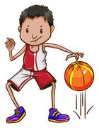 An energetic basketball player Stock Illustration