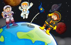 A group of astronauts in the outerspace Piirros
