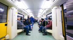 4k timelapse view from inside a subway car Stock Footage