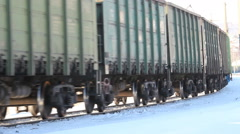Railway freight train. Winter, Russia - stock footage