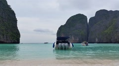 Maya Bay Koh Phi Phi tropical island - Thailand Tourism Stock Footage