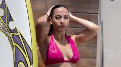 Summer GIrl Under Shower Stock Footage