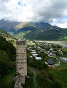 Famous tribal fortified tower in mestia,upper svanetia, georgia, caucasus Stock Photos