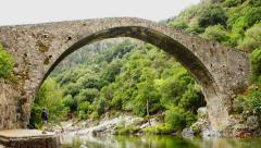 Female tourist enjoying beautiful view with bridge over a stream HD Stock Footage