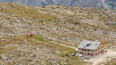 Stock Video Footage of 4k UHD helicopter prepare start in dolomite alps speedramp 11541