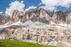 Panorama of sella mountain range from sella pass, dolomites, italy Stock Photos