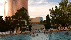 Time Lapse of Pool Resort in Las Vegas -Zoom in- Stock Footage