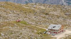 Helicopter prepare start in dolomite alps speedramp 11541 Stock Footage