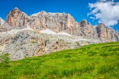 panorama of sella mountain range from sella pass, dolomites, italy - stock photo