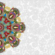 Stock Illustration of floral round pattern in ukrainian oriental ethnic style