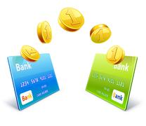 Coins transfer from card to card Stock Illustration