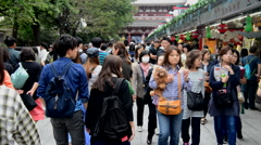 Time Lapse of Crowd Outside of the Main Entrance at Sensoji Temple - Tokyo Japan Stock Footage