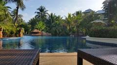 Tropical Hotel Resort Pool - Luxury Holiday Stock Footage