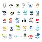 biggest collection of vector logos eye - stock illustration