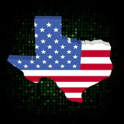Texas state map flag on hex code illustration Piirros