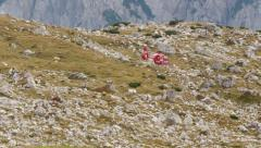 4k UHD helicopter lift off refuge locatelli dolomite alps 11545 Stock Footage