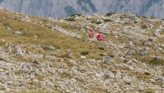 Helicopter lift off refuge locatelli dolomite alps 11545 Stock Footage