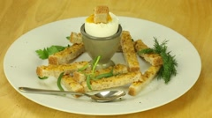 Breakfast with soft-boiled egg and toast Stock Footage