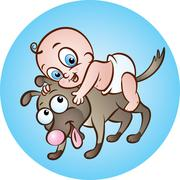 baby with dog friend - stock illustration