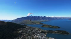 paraglider at queenstown nz - stock footage