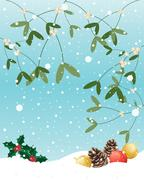 christmas mistletoe - stock illustration