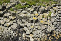 UK, Scotland, Argyll and Bute, hexagonal basalt columns on Staffa island - stock photo