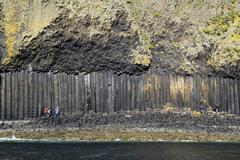 UK, Scotland, Argyll and Bute, basalt columns and volcanic ash on Staffa island - stock photo