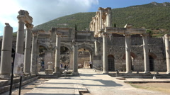 Ephesus Turkey Ancient Library of Celsus Roman ruins 4K 030 Stock Footage