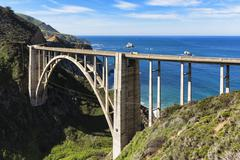 USA, California, Pacific Coast, National Scenic Byway, Big Sur, Bixby Creek Stock Photos