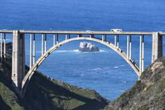 USA, California, Big Sur, Pacific Coast, National Scenic Byway, Bixby Creek Stock Photos