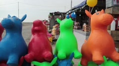Closeup of Colorful Children's Toys at Outside Market Stock Footage
