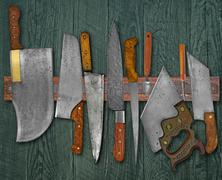 Vintage knives on the rack Stock Photos
