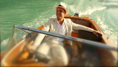 happy young man enjoying boat ride. smiling face. luxury lifestyle - stock footage