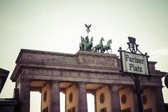 Germany, Berlin, Berlin-Mitte, Brandenburg Gate at Pariser Platz Stock Photos