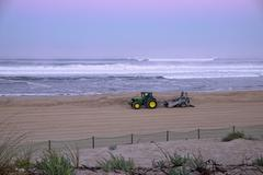 France, Aquitaine, Landes, Contis-Plage, beach cleaning Stock Photos