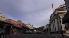 Grass Valley, Calif. gold mining town woman Stock Footage