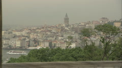 View of Galata tower from Topkapı palace Stock Footage