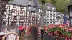Market square in a small German town Monschau. Stock Footage