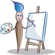 Paint brush mascot Stock Illustration