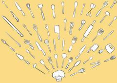 cooking utensil set - stock illustration