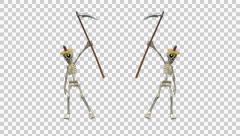 Skeleton Duo - Pumpkin Hats - Scythe Dance - Alpha Stock Footage